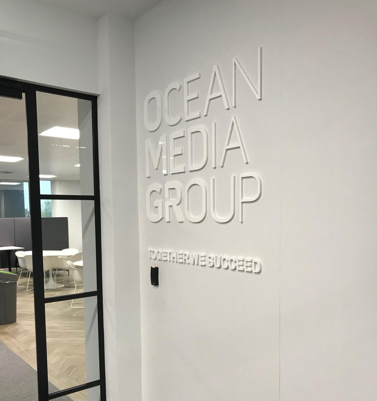 Interior Perspex Office Sign For Ocean Media Group